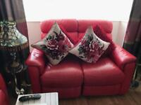 2 Red Soft Leather Recliner Sofas
