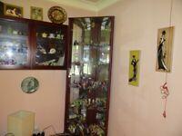 Corner glass doored display unit, Mahogany colour with mirror back & Lights VGC
