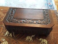 Antique Ornate Solid Oak Music Box / Jewellery Box - Beautiful Wood Wooden Carving Bedroom Furniture
