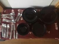 Plate and cutlery set