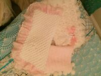 Bundle of hand made baby girls blankets