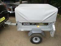 DAXARA 107 TILTBED / DROPTAIL GOODS TRAILER WITH HIGH FRAME / COVER....
