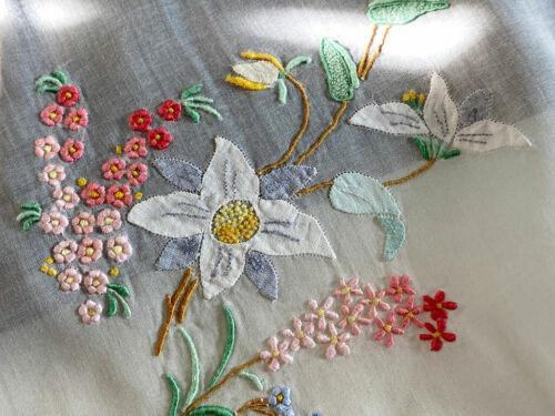 Vintage Antique Linen Organza Madeira Tablecloth w/ Applique & Embroidery  WW112