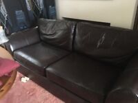 M & S Brown Leather Sofa