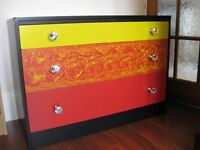 SUPER COOL UNIQUE CHEST OF DRAWER HAND PAINTED WITH NEW DIAMOND GLASS KNOBS.