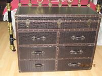 UNUSUAL CHEST OF DRAWERS - Trunk Style - Perfect, New Condition