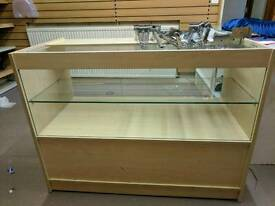 SHOP GLASS DISPLAY COUNTER CHEAP RETAIL *CURVED CORNER SHELF INCLUDED FOR FREE*