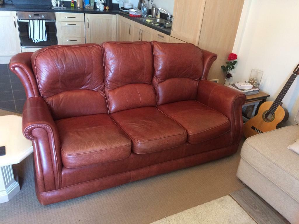 Leather Sofa and Two Armchairs