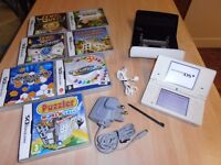 """NINTENDO DSi LITE """" White """" >> Including << 7 GAMES & a leather Case."""