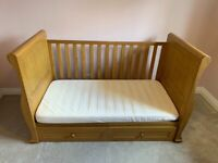 East Cost Langham Oak Cot Bed