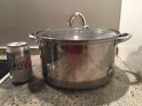 M&S Stainless Steel Large Pot with Glass Lid - in good condition