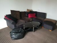 corner sofa and coffee table