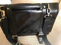 BLACK BRIEFCASE, REAL LEATHER (NOT BONDED/FAUX!) - DEBENHAMS/OSBORNE - BRAND NEW