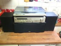 Vintage technics turntable sl-dL1 plus amp and gale speakers record player