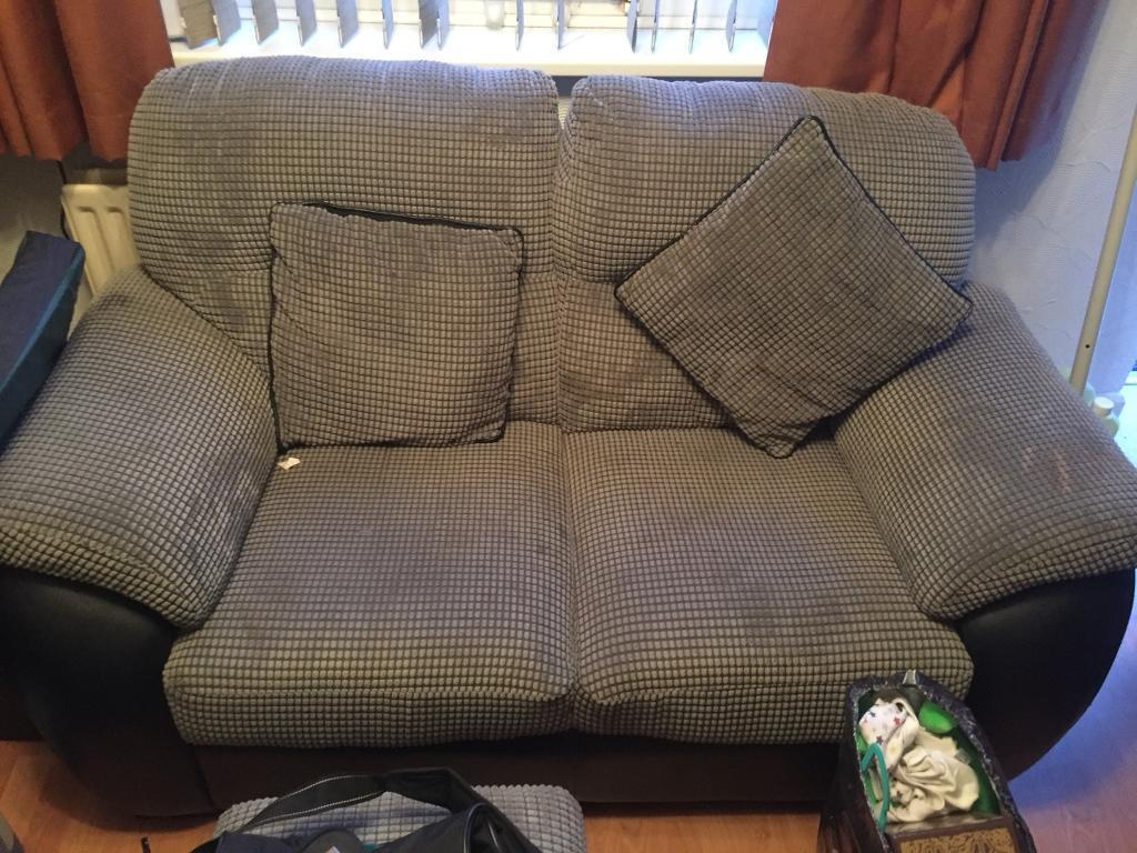 2 seater sofa with storage foot stool