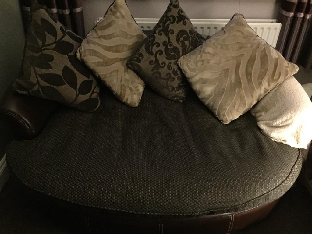 DFS 4 seater sofa and 3 seater snuggler - brown and cream
