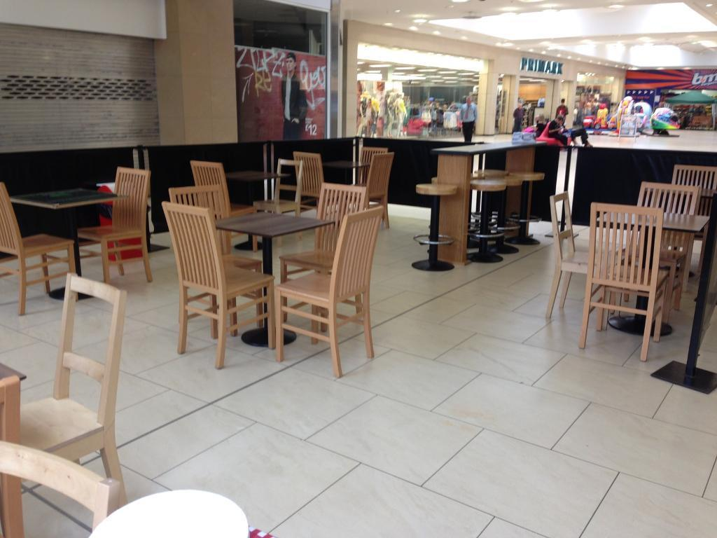Cafe tables, chairs, bar stools and bar bench