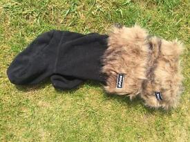 Fur-topped fleece wellie socks