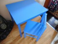 blue table and chair from ikea