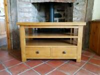 Solid Oak TV unit with drawers - reduced!