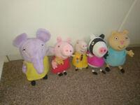 Peppa Pig, talking George, Zoe Zebra, Candy Cat, Emily Elephant soft toys
