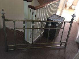 Double bed brass effect metal headboard