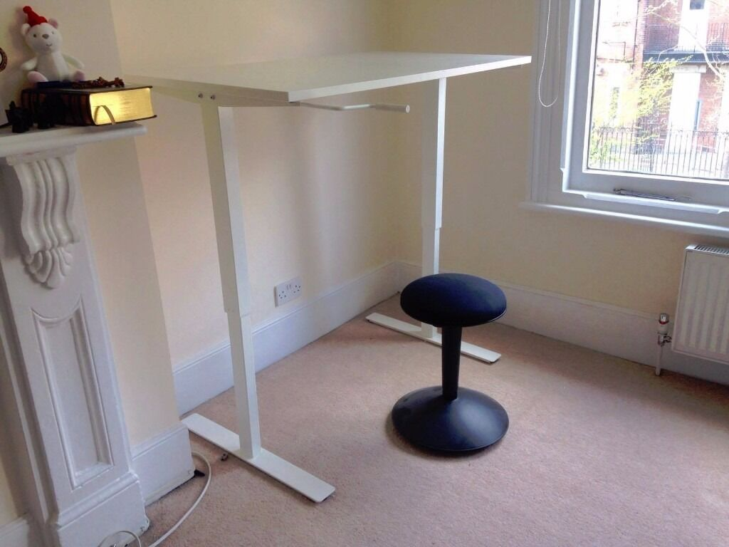 standing desk adjustable height ikea skarsta with nilserik standing support in dulwich. Black Bedroom Furniture Sets. Home Design Ideas