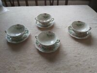 Stratford d6196 4 soup bowls and saucers