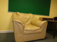 Classic Cream Leather Armchair Suite with Padded Cushions, Was £799
