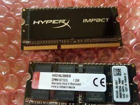 hyper X gaming laptop ram 2x8gb sticks