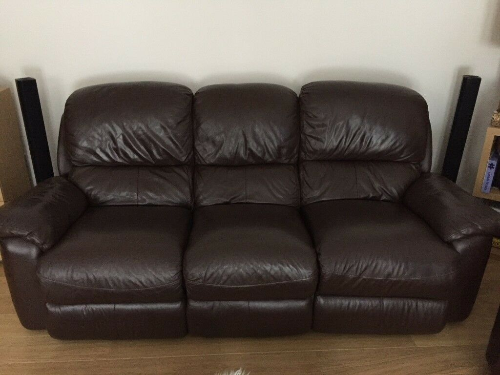 3 Seater Electric Recliner 2 Seater Manual Recliner Sofas Dark  ~ Brown Leather Reclining Sofa