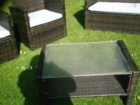 brown rattan garden set