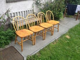 Retro Solid Elm And Beech Stick Back Chairs