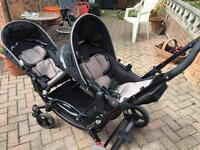 Twin Pushchair and 2 attachable car seats
