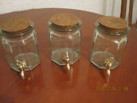Vintage glass jars with taps, hand made in Spain, La Mediterranea, each £ 10
