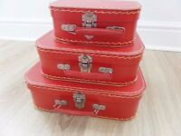 3 RED MINI (decorative) STORAGE SUITCASES STACK INSIDE ONE ANOTHER