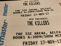 SOLD! 2 seated tickets The Killers SSE Belfast Fri 17 Nov