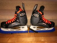 Easton Ice Hockey Skates Boys Black Orange UK Size 5 With Blade Guards Included