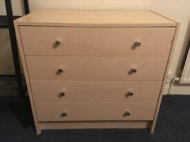 Pine Veneer Drawers 4 tier