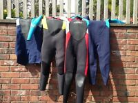 Children's wetsuits various ages