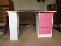 Small White Desk, with Pink drawers