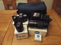 Minolta 7000 SLR Camera (35 mm film), 2 x lens, Flashgun & Case