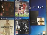 PS4 (500GB) boxed with 4 games