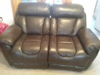 Like new, DFS Italian leather recliner 2 seater sofa. Dark brown.