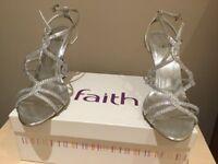 Faith Silver Diamante Evening Shoes
