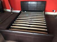 Faux leather bed with drawers