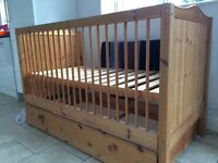 Cot bed with drawers