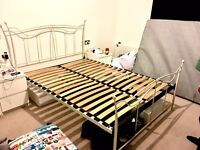 Ivory metal king size bed frame in great condition