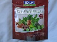 Bioglan SUPERGREENS High Nutrient Superfood Powder 100g. Rich Cacao Drink Or Eat