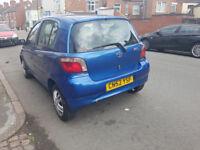 blue toyota yaris 1.cc, 5 door car